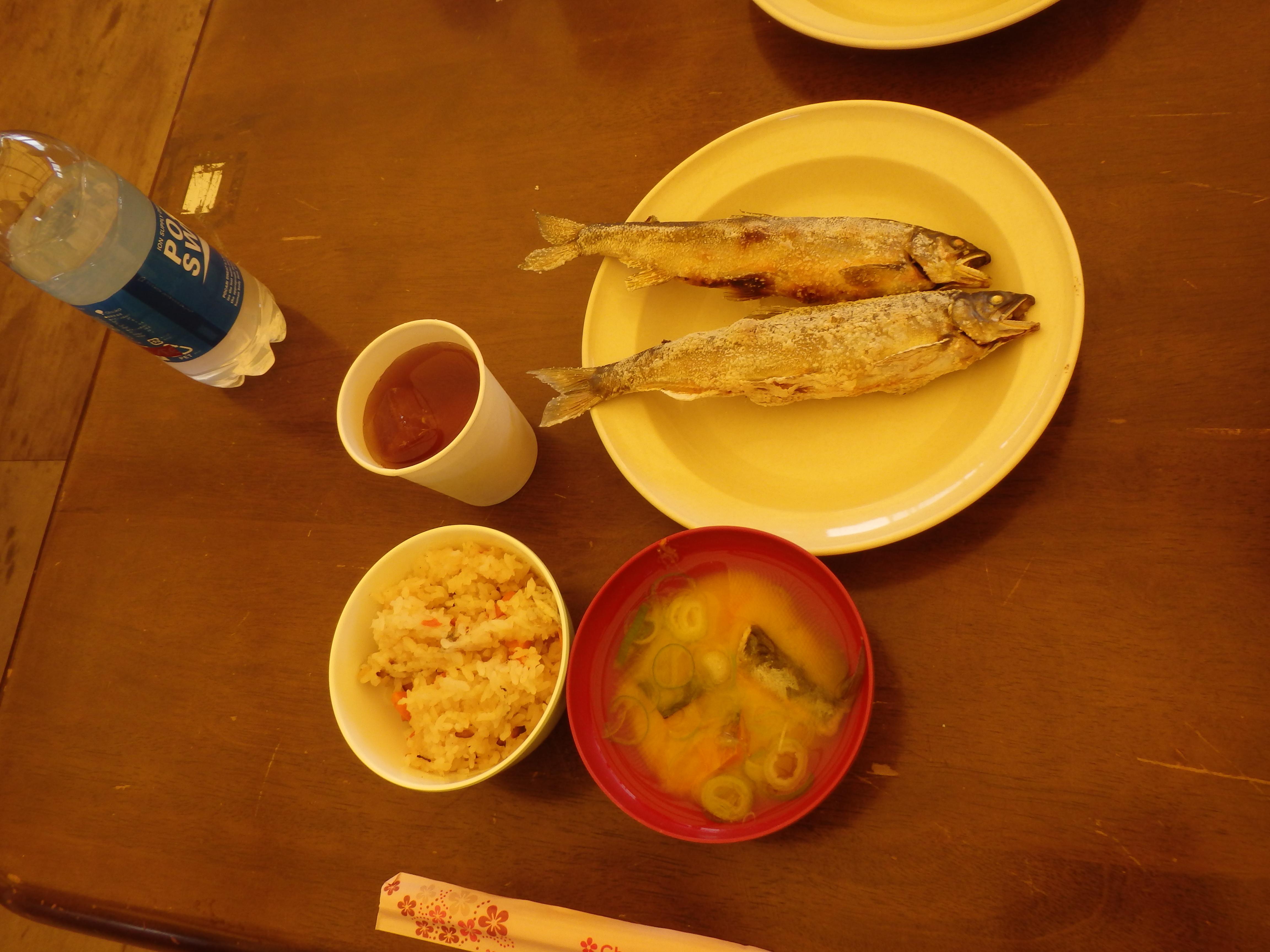五ヶ瀬川の鮎の塩焼き、鮎飯、鮎味噌汁